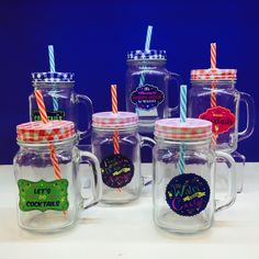 Mason Jars with Lids and Straws - designs include 'Save Water Drink Cocktails', 'I Don't Get Drunk I Get Awesome', 'This Deserves Cocktails', 'Let's Do Cocktails' and 'It's Always Happy Hour Somewhere'