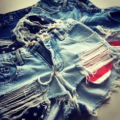 Festival Shorts - Stars and Stripes Ripped Shorts, Jean Shorts, Short Shorts, Summer Of Love, Summer Girls, High Wasted Shorts, Festival Shorts, Bad Kids, Fashion Outfits