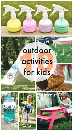 My kids have been obsessed with playing outside and I wanted to gather some fun things for them to do. Also, I'm hosting our ward playgroup this week so we want some fun things to entertain the crazy kiddos! via Better Together Savannah's hubby built this awesome sprinkler here. DIY Kids picnic tablevia Ana White …