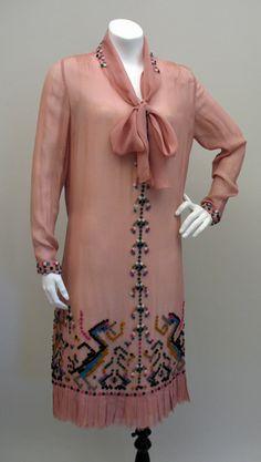Coral Pink Chiffon 1920s dress with multicolor felt applique squares