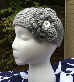 Toddler/Girls' Gray Crochet Headband/Ear Warmer by ThatsKnotLove
