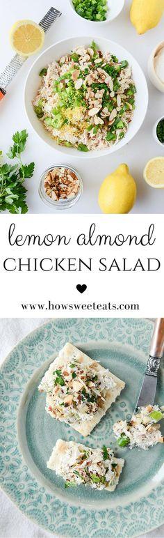 lemon almond roast chicken salad by @howsweeteats I howsweeteats.com