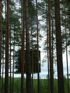 Le Mirrorcube est une structure légère en aluminium qui entoure le tronc d'un sapin pour former une boîte de 4 mètres de côté recouverte de miroirs. L'extérieur de la cabane réfléchit la forêt et le ciel, créant un refuge camouflé dans la nature.  A la nuit tombée, le Mirrorcube s'illumine et crée des jeux de lumière dans la forêt. A l'intérieur, le cube est équipé d'un lit double, d'une salle de bains, d'un salon et d'une terrasse sur le toit peut accueillir deux personnes; sans fioritures.
