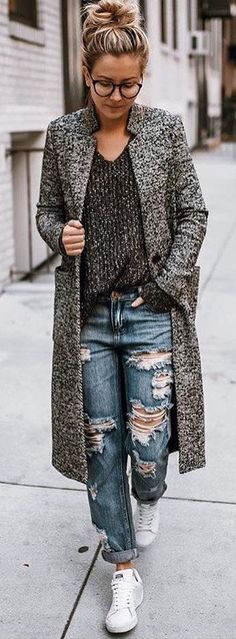 #winter #fashion /  Grey Coat / Dark Knit / Destroyed Jeans / White Sneakers