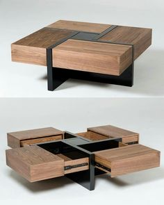 coffee table design 51 Coffee Tables With Storage To Stylishly Stash Your Clutter Coffee Table Design, Modern Square Coffee Table, Diy Coffee Table, Coffee Table With Storage, Square Tables, Coffee Coffee, Wood Table Design, Wooden Coffee Tables, Table Designs