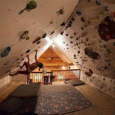 (Freddie Wilkinson) Indoor overhang climbing bouldering wall - ummm yes please! Future House, My House, Indoor Climbing Wall, Rock Climbing Gym, Climbing Workout, Climbing Rope, Bouldering Wall, Indoor Bouldering, Bedroom Loft