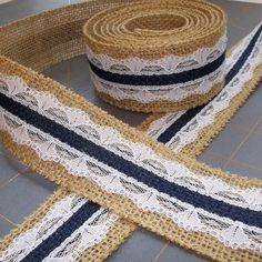 Natural Navy and White Burlap Lace ribbon  1.5 by cherrycheckers, $11.00