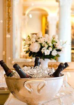 elegant champagne wine on ice