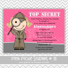 """Looking to throw your own birthday party? Check out this adorable """"spy / detective girl"""" personalized birthday invite. 13th Birthday Parties, Kids Birthday Party Invitations, 13 Birthday, Personalized Thank You Cards, Personalized Invitations, Spy Kids Party, Party Fun, Detective Party, Photo Invitations"""