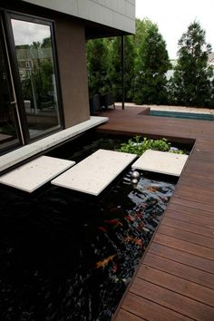 32 Minimalist Fish Pond Design Ideas, The region of the pond's wall is glass, which means you can realize your pet fish clearly. Besides beautify your home, fish pond has many different ad. Outdoor Fish Tank, Outdoor Fish Ponds, Ponds Backyard, Backyard Ideas, Koi Ponds, Garden Ideas, Koi Pond Design, Small Garden Design, Deck Design