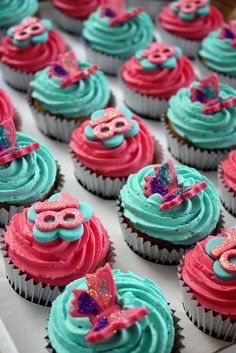 Turquoise & Hot Pink 18th Birthday Cupcakes by ConsumedbyCake, via Flickr