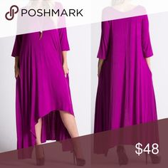 PLUS🇺🇸Loose Fit Magenta Maxi Dress 3/4 Sleeve Loose fit maxi dress. Three-quarter length sleeves. Scoop neck. Slight shark bite front hemline. 95% rayon, 5% spandex. Front center seam. Made in U.S.A.. Brand new boutique retail w/o tag. No trades, no off App transactions or negotiations.  👉🏽Touch Buy Now and you will be prompted to select size. 👈🏽  ⚠️This one is 3/4 Sleeve     ❗️PRICE IS FIRM UNLESS BUNDLED❗️ Leoninus Dresses Maxi
