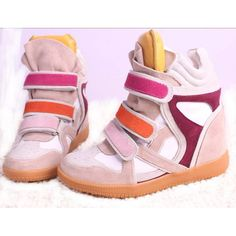 372506e162f8 Isabel Marant Wedge Seakers Leather Suede Pink Yellow  172.00 Wedge Sneakers