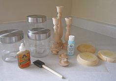 """Hello Wood Connection readers! I am Jen from Sweeten Your Day, a blog about my fun parties, tips and ideas!I am so excited to be here today to share with you one of my fun creations! Today I am will show you this superinexpensiveand EASY tutorial to create your own candlestick apothecary jars that I made for my Easter """"Hangin with my Peeps"""" party that you can find on my bloghere. Materials: Candlesticks (various sizes) – The Wood Connection Wooden knobs – The Wood Connection Glass…"""