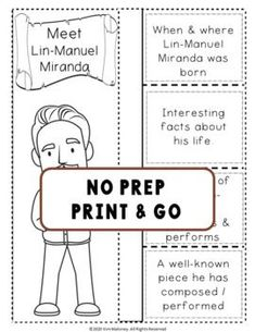 An excellent resource to accompany MUSIC LISTENING LESSONS from Music Teacher Resources. MUSIC COMPOSER: LIN-MANUEL MIRANDA and HIS MUSIC Biography Research and Listening Activities ♫ Excellent addition to your Composer of the Month! ♫ Completed foldables can be pasted into student workbooks/listening journals OR displayed on a bulletin board. No prep, just print and go! ♫ ♫ #musiceducation #mtr