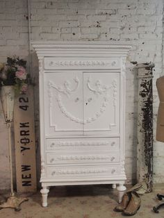 Painted Cottage Chic Shabby White Vintage French Armoire [AM33] - $795.00 : The Painted Cottage, Vintage Painted Furniture