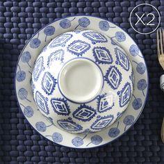 Indaco Set 4 Bowls + Large Plates