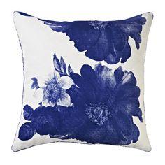 hand screen printed linen - garden floral blue 60cm