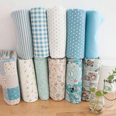 日单棉麻手工布料布组 - 花枝甜美系 蓝色系列(10块入)