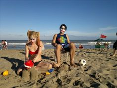 Beach day with the Joker and Harley Quinn HA HA HA