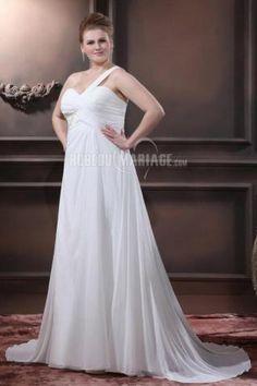 Robe de mariée enceinte fines bretelles chiffon ruches [#ROBE209095] - robedumariage.com