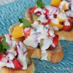my kind of bruschetta : Fresh Fruit Bruschetta With Orange Honey Cream from Our Best Bites #recipe #app #fruit #fingerfood
