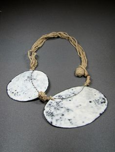 Satomi KAWAI - 'Symbiosis' necklace - Copper oxidized, pigment applied, fabric, and thread