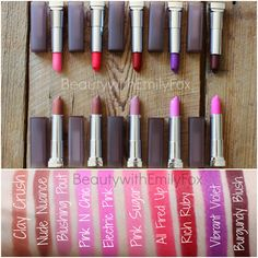 New Maybelline Creamy Matte Lipstick Swatches: Clay Crush, Nude Nuance, Blushing Pout, Pink N Chic, Electric Pink, Pink Sugar, All Fired Up, Rich Ruby, Vibrant Violet and Burgundy Blush