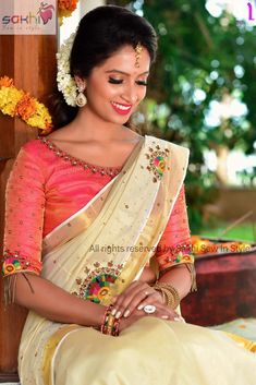 Whatsapp on 9496803123 for customisation of handwork and cutwork Kerala Saree Blouse Designs, Wedding Saree Blouse Designs, Saree Blouse Neck Designs, Saree Wedding, Tamil Wedding, Blouse Patterns, Wedding Bride, Embroidery Patterns, Set Saree Kerala