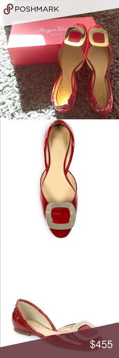 Roger Vivier Ballet Flats In excellent condition. Gorgeous red Roger Vivier Shoes Flats & Loafers
