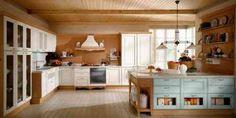 cuisine style campagne avec grand îlot en bleu et bois
