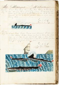 Manuscript journal and log book of the ship Geo. Howland out of New Bedford, commanded by Aaron C. Cushman, with watercolor illustrations