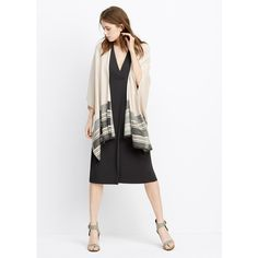 Vince Graphic Stripe Sweater Cape (1.645 ARS) ❤ liked on Polyvore featuring outerwear