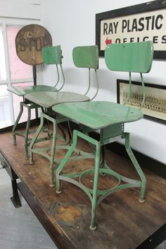 Set of 3 x Vintage Industrial Toledo Uhl Draftsman Stool Rustic Chair Green 1940 | eBay