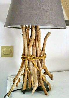 Easy DIY Driftwood Table Lamp with a Ikea Lamp Base! Featured on CC: http://www.completely-coastal.com/2015/10/coastal-ikea-lamp-hacks.html