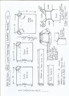 Blusa ciganinha manga longa e babado Sewing Dress, Dress Sewing Patterns, Sewing Patterns Free, Clothing Patterns, Free Pattern, Sewing Clothes Women, Diy Clothing, Fashion Sewing, Diy Fashion