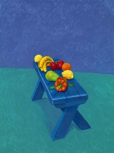 "david hockney: 82 portraits and one still-life ""Fruit on a Bench, March from Portraits and 1 Still-Life"" , 2014 Acrylic on canvas (one of an work) 48 × 36 in × cm David Hockney Photography, David Hockney Portraits, David Hockney Art, David Hockney Paintings, Cultura Pop, Guggenheim Bilbao, Pop Art Movement, Famous Art, Still Life Art"