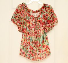 Milly Women's Semi-Sheer Short Sleeve Silk Floral Frilly #Boho Blouse Size 2 #Milly #shopping #womensfashion #style