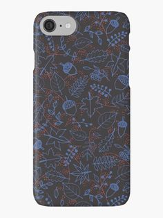 Dark Autumn Leaves iPhone Case by Anastasia Shemetova #faerieshop #illustration #drawing #fall #autumn #berry #rowan #leaves #pattern #bright #red #branch #seamless #blue #season #foliage #contour #acorns #maple #sycamore #birch #beech #oak #sketch #tree #line #nature #art #sale #redbubble #dark #gothic #phone #case