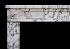 A 19TH CENTURY ANTIQUE FRENCH LOUIS XVI STYLE FIREPLACE IN ARABESCATO MARBLE-  Stock No:- 3617
