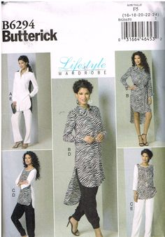 Butterick B6294, Misses' Lifestyle Wardrobe, Pants, Shirt, Top, Dress,  Size 16, 18, 20, 22, 24, Plus Size by OhSewWorthIt on Etsy
