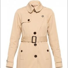 Aritzia T. Babaton Carter Trench Coat (NWOT) New without tags/ never worn! A timeless silhouette that's as iconic as many of the famous women who've worn one. T. Babaton for Aritzia. Can button the lapel to make coat look like first image. Multiple ways to wear. Classic khaki trench color. Body: 100% cotton. Lining: 100% cupro rayon. Dry clean only. Made in Cambodia. Aritzia Jackets & Coats Trench Coats
