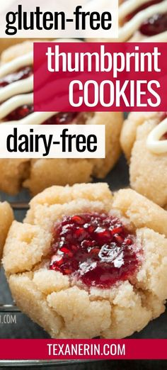 These gluten-free thumbprint cookies are also grain-free and dairy-free! Can be adapted to use different zests, extracts and jams. An amazing gluten-free cookie recipe! Cookies Gluten Free, Gluten Free Deserts, Gluten Free Cookie Recipes, Gluten Free Sweets, Dairy Free Tiramisu, Dairy Free Gluten Free Desserts, Dairy Free Fudge, Amazing Cookie Recipes, Gluten Free Chocolate Cookies