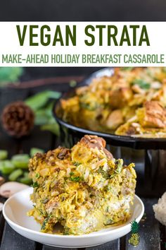 Vegan Strata Make Ahead Holiday Breakfast Casserole - Vegan Strata Make Ahead Holiday Breakfast Casserole Posted At H In Bread Breakfast Christmas Holiday Recipes With From My Bowl By Chris Petrellese Comments There Is Something Special Pioneer Woman Breakfast Casserole, Breakfast Casserole French Toast, Breakfast Casserole With Bread, Christmas Breakfast Casserole, Vegan Casserole, Slow Cooker Breakfast, Breakfast Cassarole, Hashbrown Breakfast, Vegan Breakfast Recipes