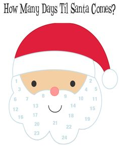 How many days til santa comes kids Christmas countdown activity. Glue ...