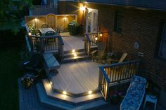 This is a sharp two level deck using low maintenance decking with low voltage lighting.