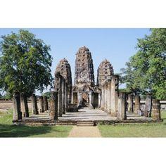 View of Sukhothai Khmer Sanctuary Ruins Thailand Canvas Art - Richard Maschmeyer Design Pics (34 x 22)