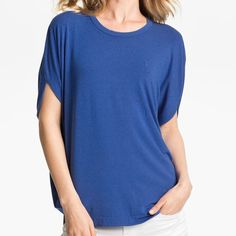 "Vince Blue Slub Circle Tee Notched batwing sleeves add curvaceous volume to a stretchy round-neck tee. Curved hem. Approx. length from shoulder: 25 1/2"". (Its fit meduim size) Vince Tops Blouses"