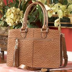 Concealed Carry Ostrich Print Leather Computer Handbag Purse Tote