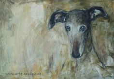 Greyhound, mixed media on canvas. by Claudia Gaede. https://www.pinterest.com/claudiagaede/greyhound-art-by-claudia-gaede/